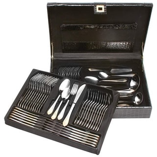 Sterlingcraft Heavy-Gauge Stainless Steel 72pc Flatware and Hostess Set with Gold Trim