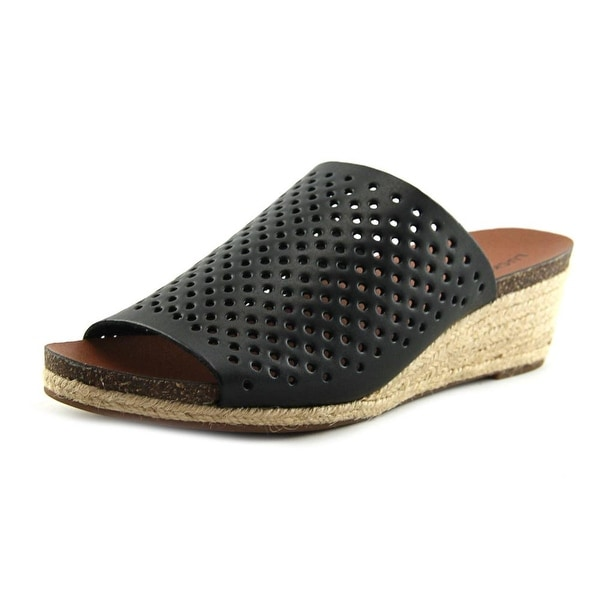 Lucky Brand Jemya Women Open Toe Leather Black Wedge Sandal
