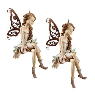 Design Toscano Fannie, the Fairy Sitting Statue: Set of Two