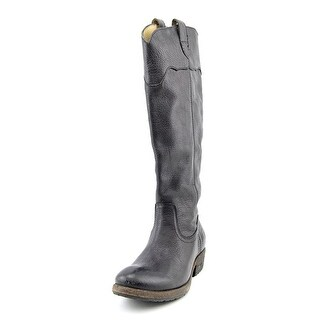 Frye Carson Lug Riding Button Women Round Toe Leather Black Knee High Boot