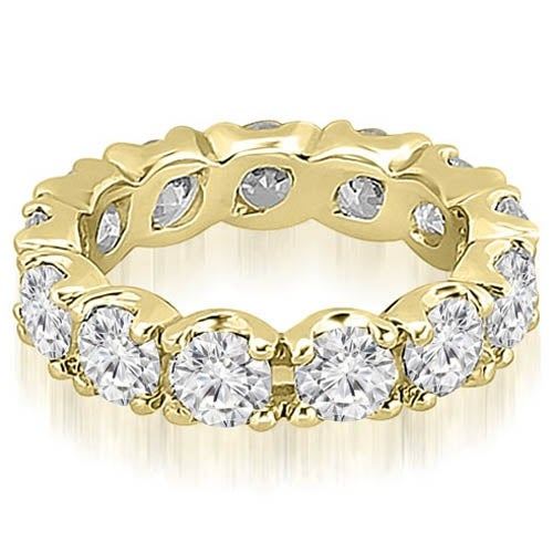 14K Yellow Gold 3.40 ct.tw Round Cut Diamond Fishtail Eternity Ring HI, SI1-2