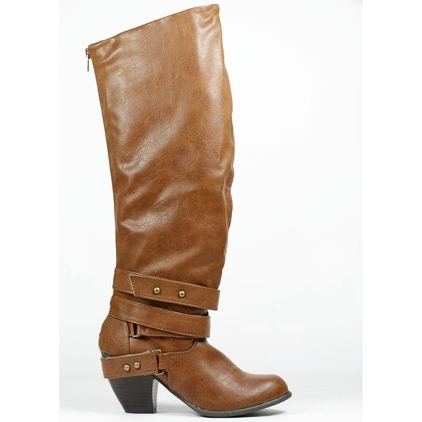 Qupid Priority-32 Strappy Knee High Boot - cognac distress pu