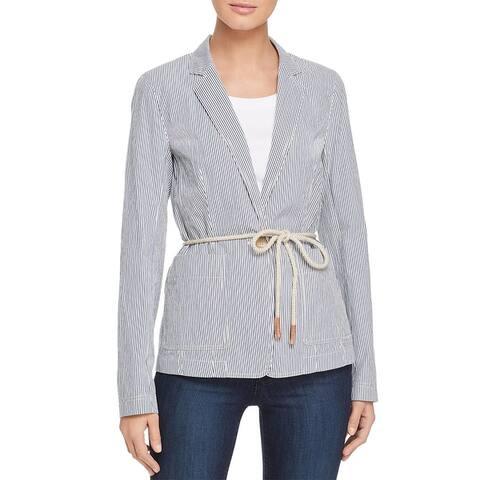 Lafayette 148 New York Womens Ambrose Jacket Striped One-Button - Indigo Multi