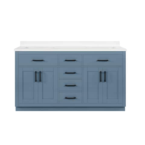 OVE Decors Bailey 60 in. Double sink Bathroom Vanity in Blue Lagoon with Power Bar