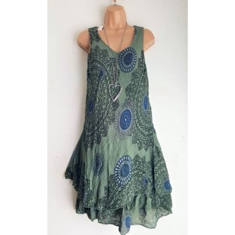Autumn Print Double Layer Sleeveless Gowns Dress