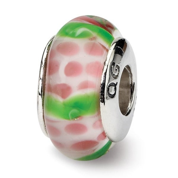 Sterling Silver Reflections Pink/Green Hand-blown Glass Bead (4mm Diameter Hole)