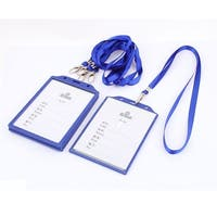 Unique Bargains 5 Pcs Blue Clear Plastic Vertical ID Work Card Badge Holder w Neck Strap Lanyard