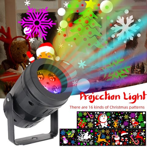 Outdoor Christmas LED Projection Light 16 Patterns Laser Light Projector Lamp for Xmas Holiday Garden Party