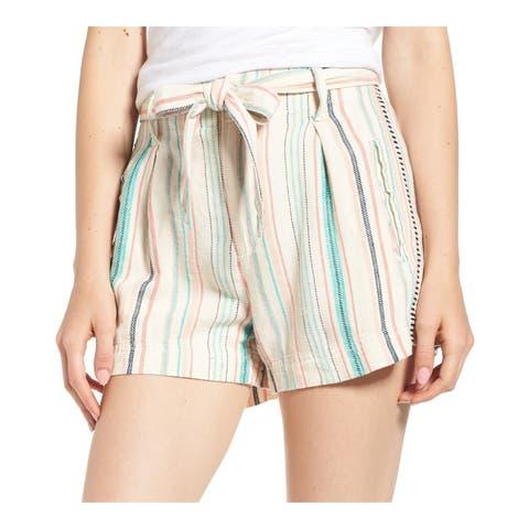 Splendid Beige Teal Women's Size XS Belted Pinstriped Shorts