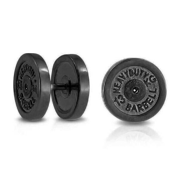 be8a7a6a9 Dumbbell Black Plate Faux Plugs Earrings For Women 316L Steel 16G 12mm