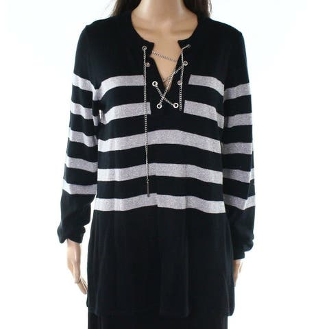 Michael Kors Black Chainlink Laced Women Large L Pullover Sweater