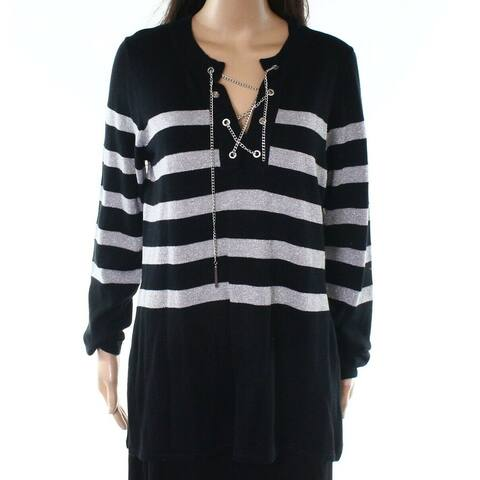 Michael Kors Black Womens Size XL Striped Lace Up Pullover Sweater