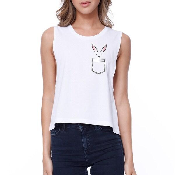 Rabbit Pocket Crop Tee Sleeveless Shirt Junior Tank Top For Easter