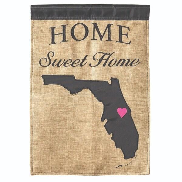 "Brown and Black ""HOME Sweet Home"" Florida Burlap Garden Flag 18"" x 13"" - N/A"