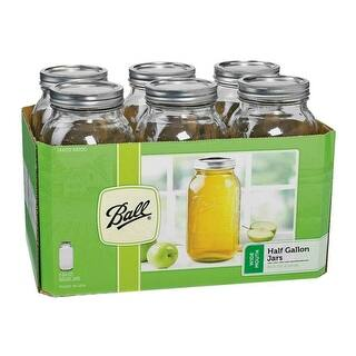 Ball 68100 Wide Mouth Mason Canning Jars, Half Gallon (64 Oz), Box Of 6|https://ak1.ostkcdn.com/images/products/is/images/direct/1bad56e647eef33f2960e2d17c613bc3e39951c8/Ball-68100-Wide-Mouth-Mason-Canning-Jars%2C-Half-Gallon-%2864-Oz%29%2C-Box-Of-6.jpg?impolicy=medium