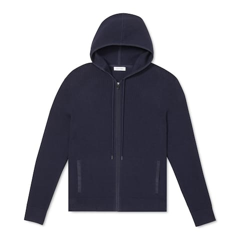Calvin Klein Mens Sweater Navy Blue Small S Waffle Knit Full-Zip Hoodie