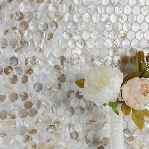 SomerTile 11.25x11.625-inch Seashell Penny Natural Seashell Mosaic Wall Tile (10 tiles/9.1 sqft.)