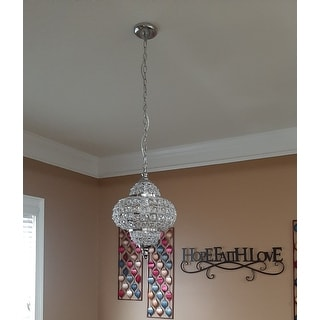 "Juliette 12"" Crystal/Metal LED Chandelier Pendant, Chrome by JONATHAN  Y"