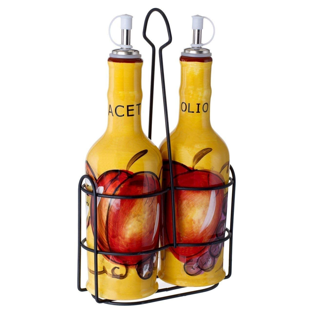 Cucina 4 X 4 cucina italiana ceramic oil and vinegar set 14 oz. with metal rack, yellow  - 4 x 4 x 9 inches
