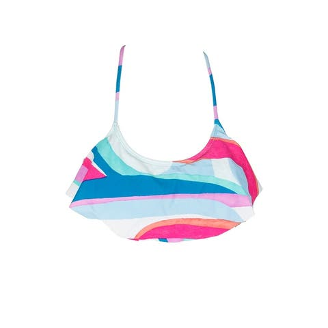 Hula Honey Juniors White Multi Flying Colors Printed Flounce Bikini Top XS
