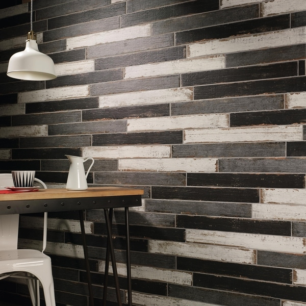 SomerTile 2.75x23.5-inch Lambris Nero Porcelain Floor and Wall Tile. Opens flyout.