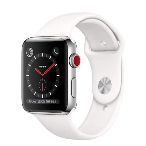 Refurbished Apple Watch 38mm Series 3 GPS & Cellular Stainless Steel & White Band