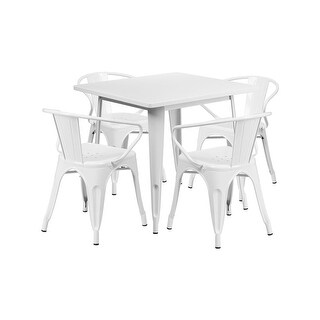 "Offex 31.5"" Square White Metal Indoor Table Set with 4 Arm Chairs [OF-ET-CT002-4-70-WH-GG]"