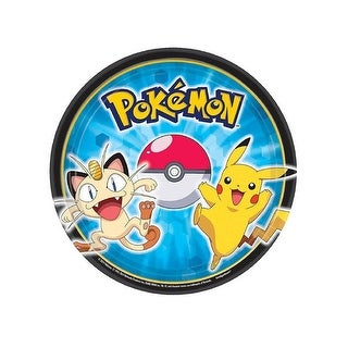 """Pokemon Pikachu and Friends 7"""" Round Paper Plates, 8 Count"""