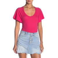 Free People Pink Women's Small S Scoop Neck Bodysuit Knit Top