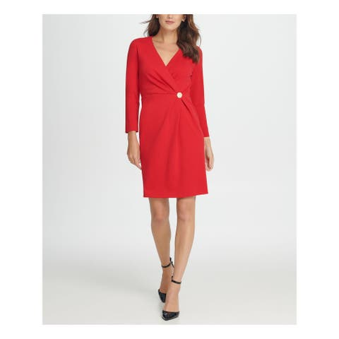 DKNY Red Long Sleeve Above The Knee Wrap Dress Dress Size 16