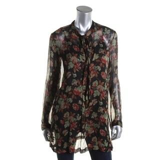 Polo Ralph Lauren Womens Blouse Silk Floral Print