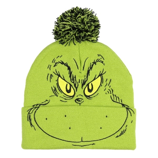 bca173966 Dr. Seuss The Grinch Who Stole Christmas Pom Beanie Hat Embroidered  Character