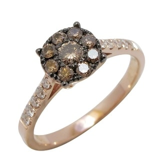 Prism Jewel 0.50Ct Brown Color Diamond with Natural Diamond Cluster Ring, Rose Gold - White G-H