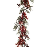Pack of 4 Red and Green Winter Berry Garland 57""
