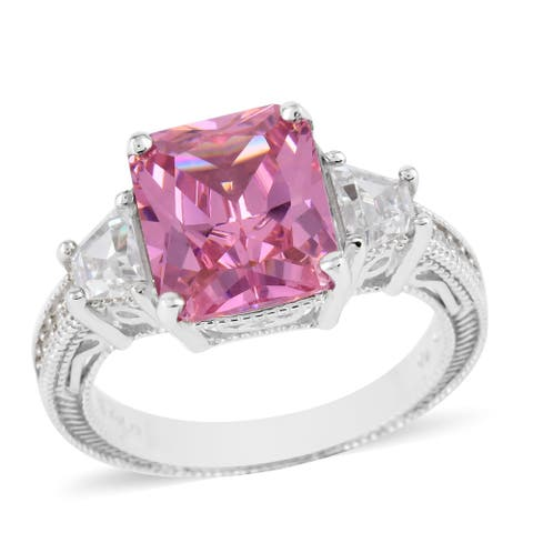 925 Sterling Silver Pink White Cubic Zirconia Ring Ct 9.6