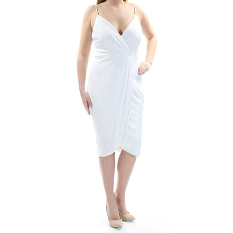 2308d1a06e8 GUESS Womens Ivory Zippered Metallic Spaghetti Strap V Neck Below The Knee  Faux Wrap Cocktail Dress