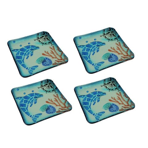 Set of 4 Coastal Blue Dolphin Square Art Glass Salad Plates - 0.68 X 7.75 X 7.75 inches