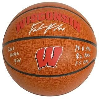 Frank Kaminsky Signed Wisconsin Badgers Rawlings Brown Logo Basketball w/2015 POY Stats