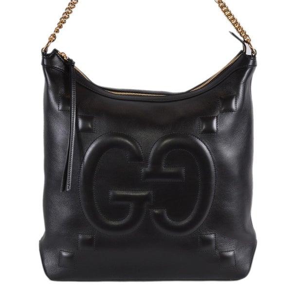 a4a5029cd29d Gucci Women's 453562 Black Leather GG Original Apollo Hobo Purse  Handbag