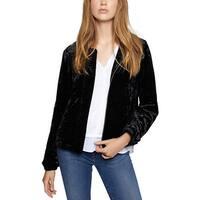 Sanctuary Black Womens Size XS Velvet Full-Zip Bomber Jacket