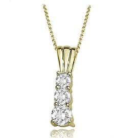0.75 cttw. 14K Yellow Gold Three-Stone Round Cut Diamond Pendant