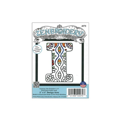 Design Works Zenbroidery Fabric 5x5 Letter I