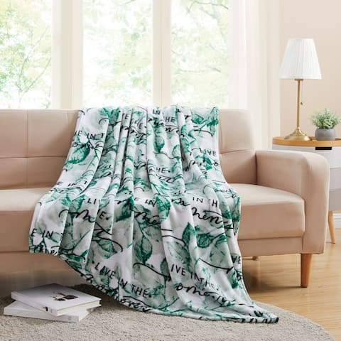 Asher Home Green Live in the Moment Plush Throw Blanket