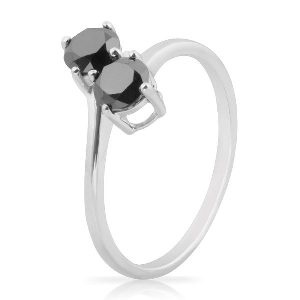 Prism Jewel 1.00 Carat Round Brilliant Cut Black Natural Diamond 2-Stone Ring
