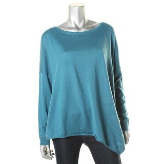 Eileen Fisher Womens Asymmetric Three-Quarter Sleeves Pullover Sweater