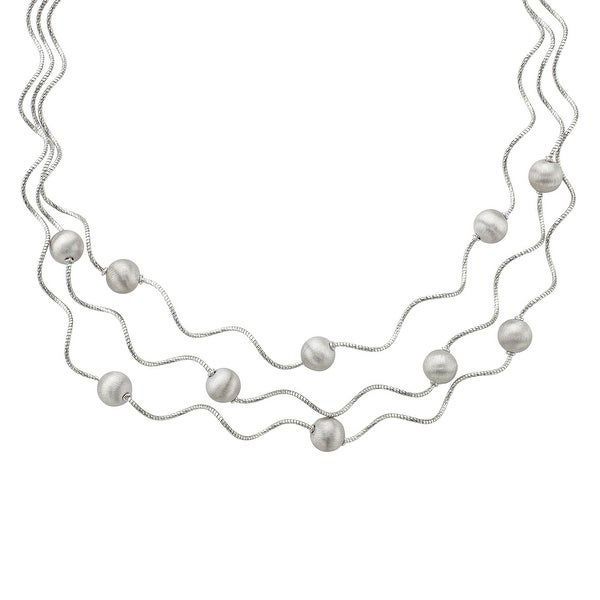 Beaded Twist Necklace in Sterling Silver - White