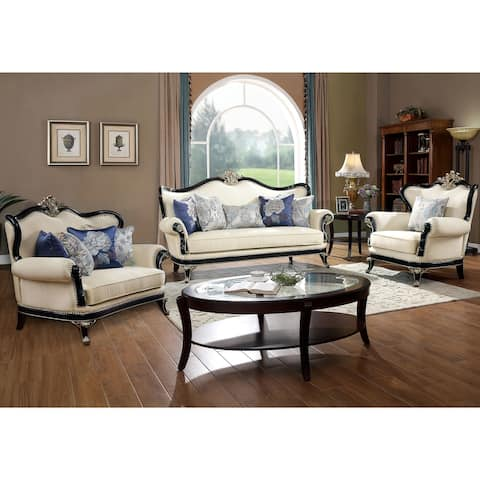 Furniture of America Teep Traditional Beige 3-piece Living Room Set