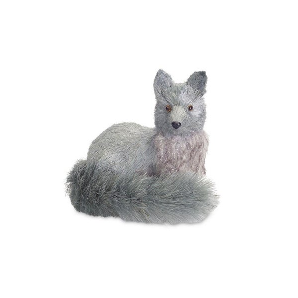 "8.5"" Light Blue Gray Glittered Fox Christmas Tabletop Decoration"