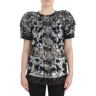 Dolce & Gabbana Black Clear Crystal Runway Blouse Top - it38-xs