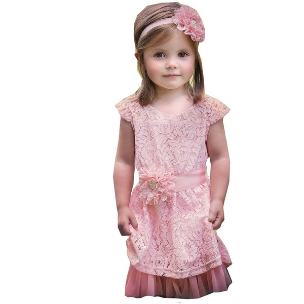 Think Pink Bows Baby Girls Coral Pink Lace Tulle Bella Flower Girl Dress 1-2T